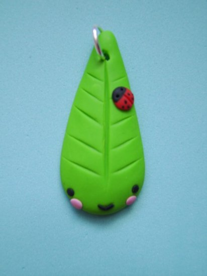 sweet leaf charm (polymer clay)