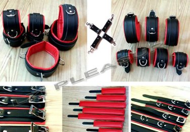7 piece of 100% Original Leather cuffs and Collar Restraints Bondage set