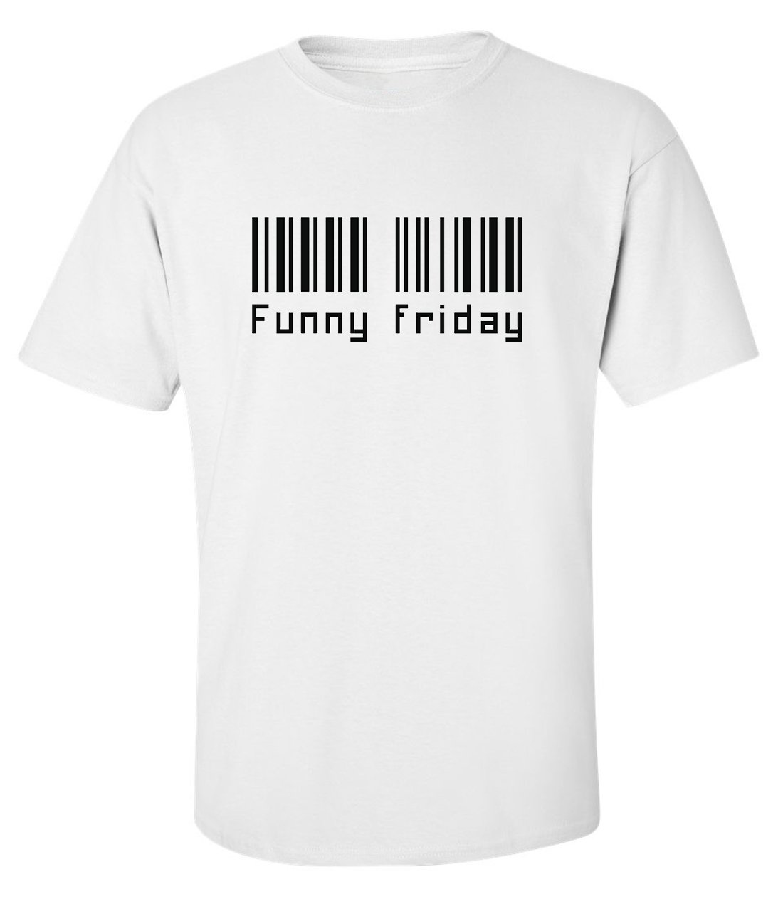 Funny friday bar code fashioned men printed white cotton t-shirt size M