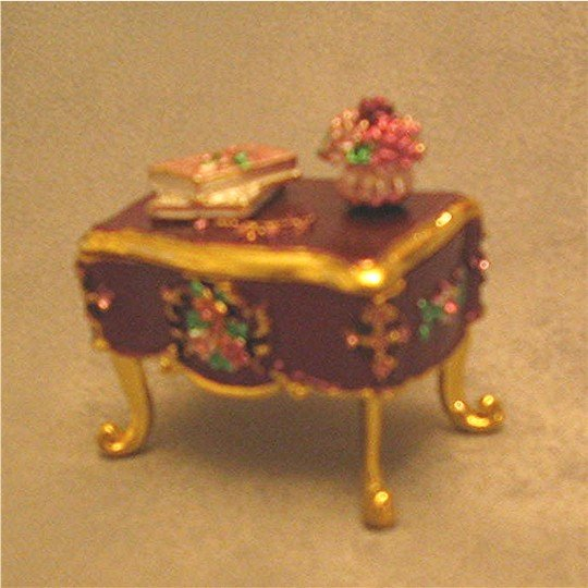 Jeweled Purple Vanity Hinged Trinket Jewelry Box
