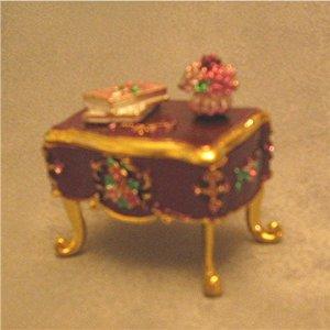 Jeweled Purple Vanity Hinged Trinket Jewelry Box