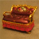 Jeweled Purple Sofa Hinged Trinket Jewelry Box