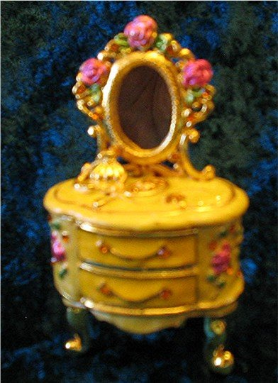 Jeweled Gold Dresser Hinged Trinket Jewelry Box