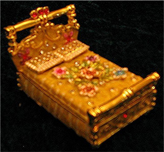 Jeweled Gold Bed Hinged Trinket Jewelry Box Bejeweled