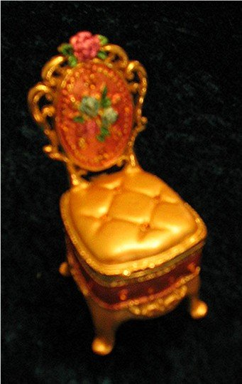 Jeweled Gold Chair Hinged Trinket Jewelry Box Bejeweled