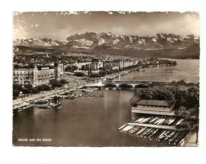 Postcard - View of Zurich and Alps, Posted Sept 1950 to McAllen, Texas