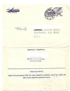 CZECHOSLOVAKIA 1973 Airletter Aerogram Jablonec CZ to Washington DC USA