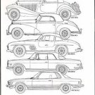 MERCEDES BENZ - Car recognition drawings silhouettes 1935-1981 Coupe models