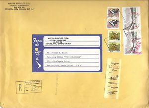 CANADA REGISTERED COMMERCIAL COVER 1988 - Ontario to Texas USA $4.24 postage