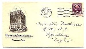USA - COVER - Hotel cachet HOTEL CHARLOTTE 1935