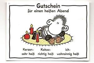 """POSTCARD - German """"Voucher for a Hot Night"""" Gutschien fur einen heissen Abend"""