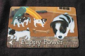 """SINGAPORE Phonecard """"Puppy Power"""" NO VALUE - USED"""