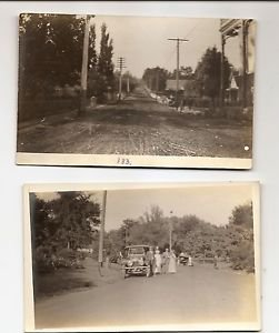 Vintage POSTCARDS 2 photo RPPC Road and Street scenes, car, etc 1910s-1920s?