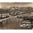 POSTCARD View of Zurich and Alps Switzerland, Posted Sept 1950 to McAllen, Texas