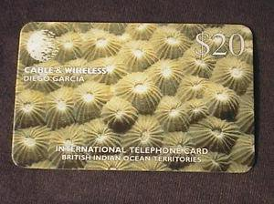 DIEGO GARCIA BIOT Phonecard Cable & Wireless $20 Coral USED / NO AIRTIME VALUE