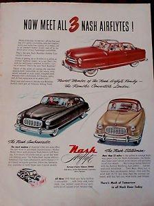 NASH Automobile Advertisement AIRFLYTES in Holiday Magazine 1950