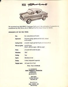 NSU WERKE PRINZ Saloon Auto / Car - US salles and spec sheet - Germany - 1958??