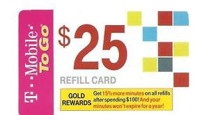 USA Phonecard - T-Mobile $25 Refill Card - USED / NO AIRTIME