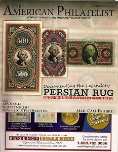 AMERICAN PHILATELIST Sept 2015 Persian Rug Revenue, St Lucia, Egypt, Pennsly.