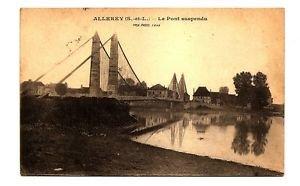 POSTCARD Allerey, FRANCE, Suspension Bridge, US soldier Mail, 1919