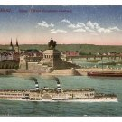 Postcard - COBLENZ GERMANY, Kaiser monument, River steamer 1900s