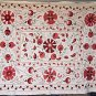 Fully Handstitched SUZANI COVERLET/WALL HANGING Anar (Pomegranate) Motif 5'x6.5'