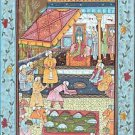 "Mughal Persian Miniature GOUACHE PAINTING on SILK Court Scene ""GIFTS FOR SHAH"""