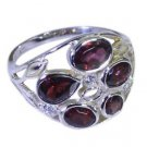 fascinating Garnet 925 sterling silver Red Ring india  L-1.2in US 5,6,7,8