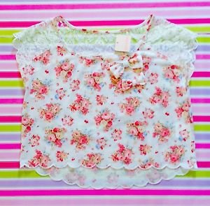 Liz Lisa Pink White Floral Crop Top New With Tags Size S