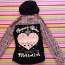 Tralala Pink Black Checked Hooded Shirt Size S Perfect for School