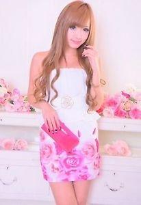 MA*RS Rose Print Pink White Onepiece Dress Gyaru Fashion