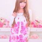 MA*RS Rose Print Pink White Cardigan Gyaru Fashion