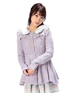 Liz Lisa 2015 Knitted Violet Onepiece Dress Detachable Faux Fur Collar Size S