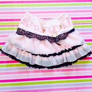 Liz Lisa Tralala Pink & Black Gyaru Mini Skirt With Heart Shaped Brooch