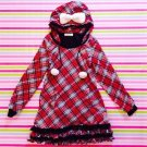 Liz Lisa Tralala Red Checked Winter Onepiece Dress with Pom Pom and Bow