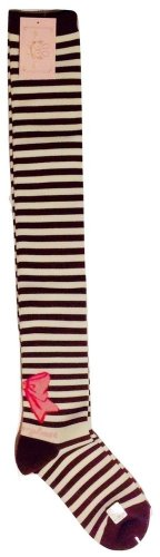 Metamorphose Narrow Striped Ribbon OTK Socks in Brown Lolita Fashion