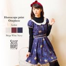 Horoscope Print Onepiece in Navy by Secret Honey Japanese Fashion