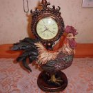 Beautiful Cold Cast Resin Rooster Clock~Works Fine 1 Ft. Tall