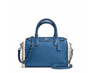 Coach Mini Bennett Satchel Shoulder Bag Crossbody Leather Shearling Slate Blue
