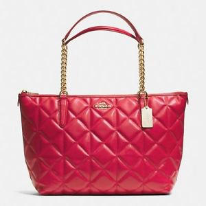 Coach Ava Chain Tote Shoulder Bag Quilted Calf Leather Red Gold Brand New