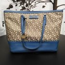 DKNY Signature Logo Tote Shoulder Bag Chino Blue Khaki Heritage w/ Leather PVC
