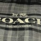 Coach Designer Printed Plaid Scarf Oversized Square Black Gray Grey 54x54 Modal