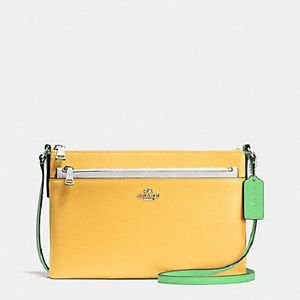 Coach 2 in 1 Pop Crossbody SHoulder Bag Colorblock Leather Yellow White Green