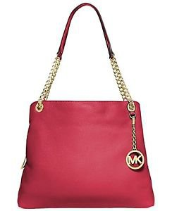 Michael Kors Leather Jet Set Chain Large Shoulder Bag Tote Chili Red Gold