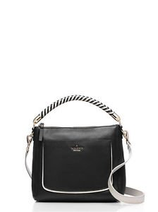 Kate Spade Woods Drive Leather Harris Satchel Shoulder Bag Crossbody Black White