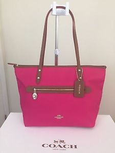 Coach Medium Sawyer Tote Shoulder Bag Canvas & Leather Pink Ruby Brown