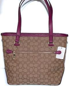 Coach Signature Zip Top Tote Shoulder Bag Khaki Fuschia Jacquard Leather