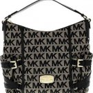 Michael Kors Gansevoort Large Signature Print Shoulder Bag Tote Black Jacquard
