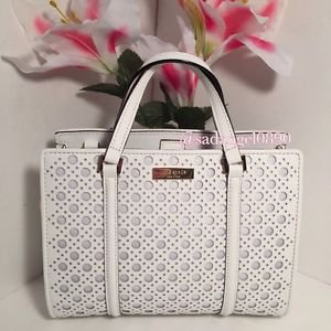 Kate Spade Romy Caining Leather Satchel Shoulder Bag Crossbody Bright White