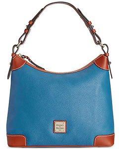 Dooney & Bourke Pebble Leather Large Hobo Shoulder Bag Blue Brown